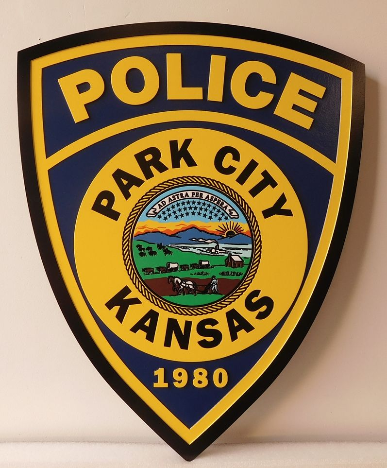 X33718 -Carved and Engraved  Wall Plaque of the Shoulder Patch of the Park City Police Department in Kansas