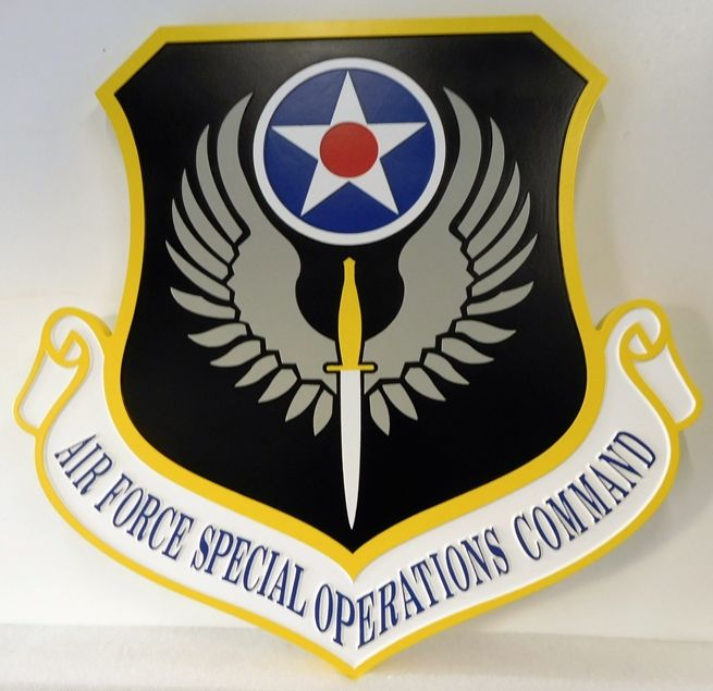 LP-1660 - Carved Plaque of the Shield Crest of the Air Force Special Operations Command, 2.5-D Artist Painted