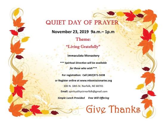 Quiet Day of Prayer