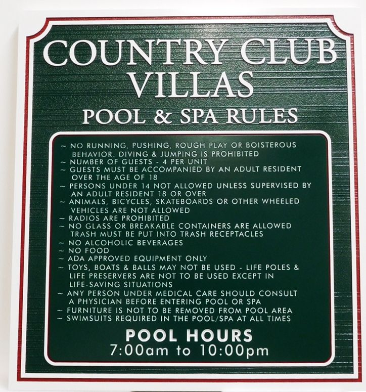 KA20821 - Carved Pool & Spa Rules for Country Club Villas Apartment Complex, with Sandblasted Wood Grain Background