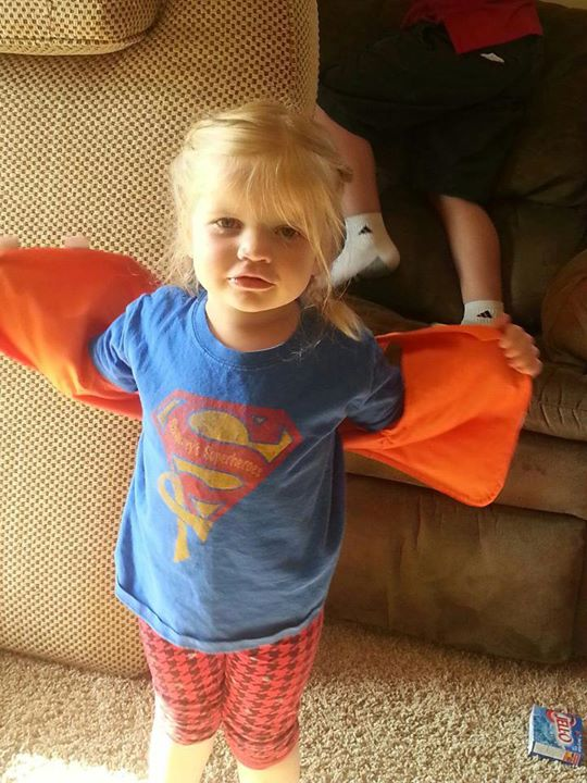 "Our first Superhero pic for Sammy's self-declared ""Sammy Shirt Day!"" Cute Lauren Fleming!"