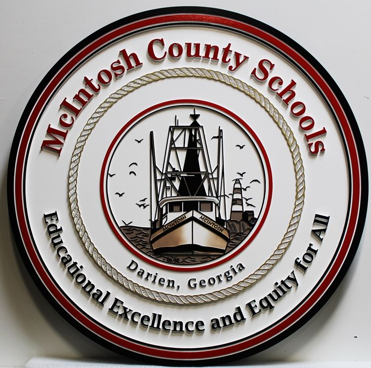 TP-1085 - Carved 2.5-D Raised Relief Wall Plaque of theSeal for McIntosh County Schools, Darien, Georgia, with Fishing Boat as Artwork
