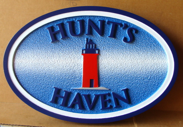 "L21429 – Carved HDU 2.5-D Coastal Address Sign ""Hunt's Haven""  with Lighthouse"