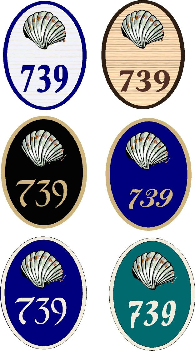 L21536 - Six Street Number Signs with Decorative Carved Clam  Shells