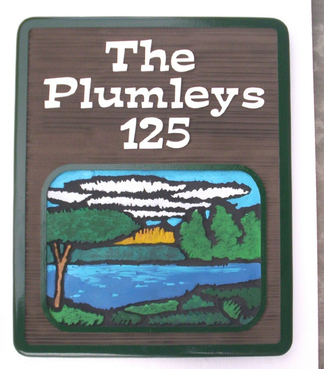 M22400 - Carved Wood Look Residence Sign with Hand Painted, Scenic