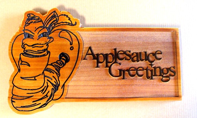 "Q25623 - Wood Sign for ""Applesauce Greetings"" with Worm in Apple"