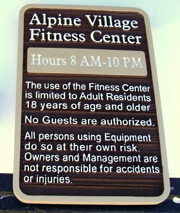 KA20830 - Carved Wood Look HDU Apartment Complex Sign Giving Regulations for Fitness Center