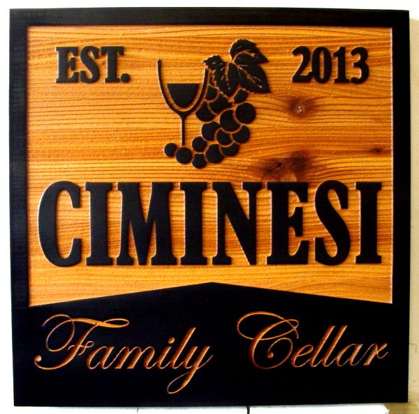 N23620 - Carved , Sandblasted  and Engraved  Red Cedar Wood Wall Plaque for the Ciminesi Family Wine Cellar