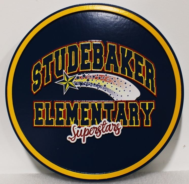 TP-1417 - Carved 2.5-D HDU Plaque of the Seal of Studebaker Elementary School