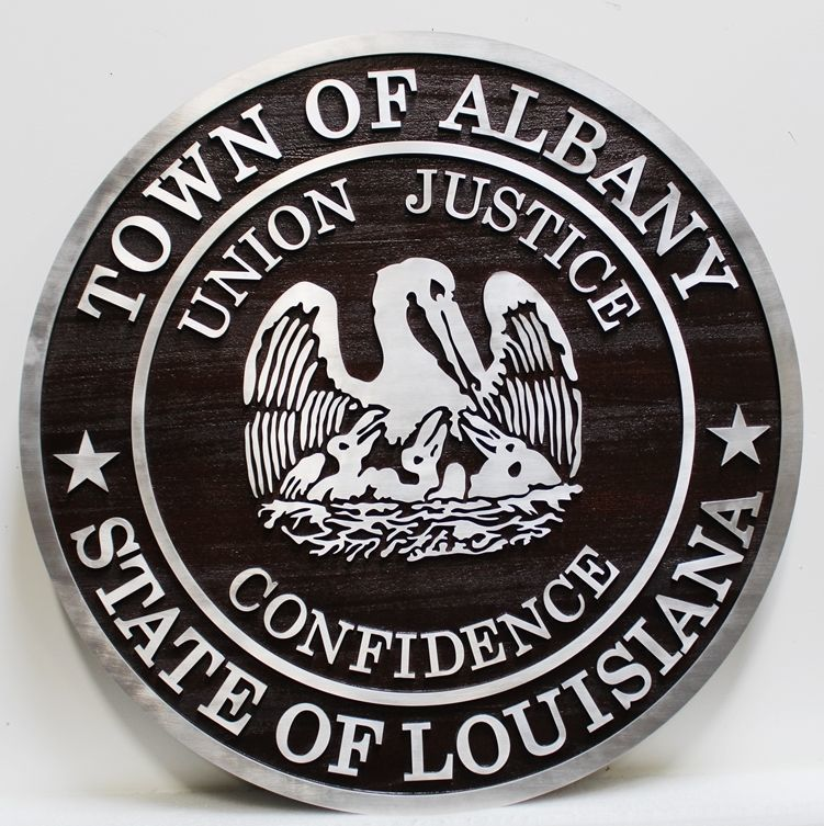 X33238 - Carved Aluminum-Clad HDU Plaque of the Seal of the Town of Albany, Louisiana