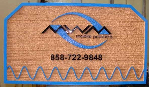 "SA28586 - Carved Wood-Grain Sign for "" MWM Mobile Phone Products"",  with Radio Wave Logo as Artwork"