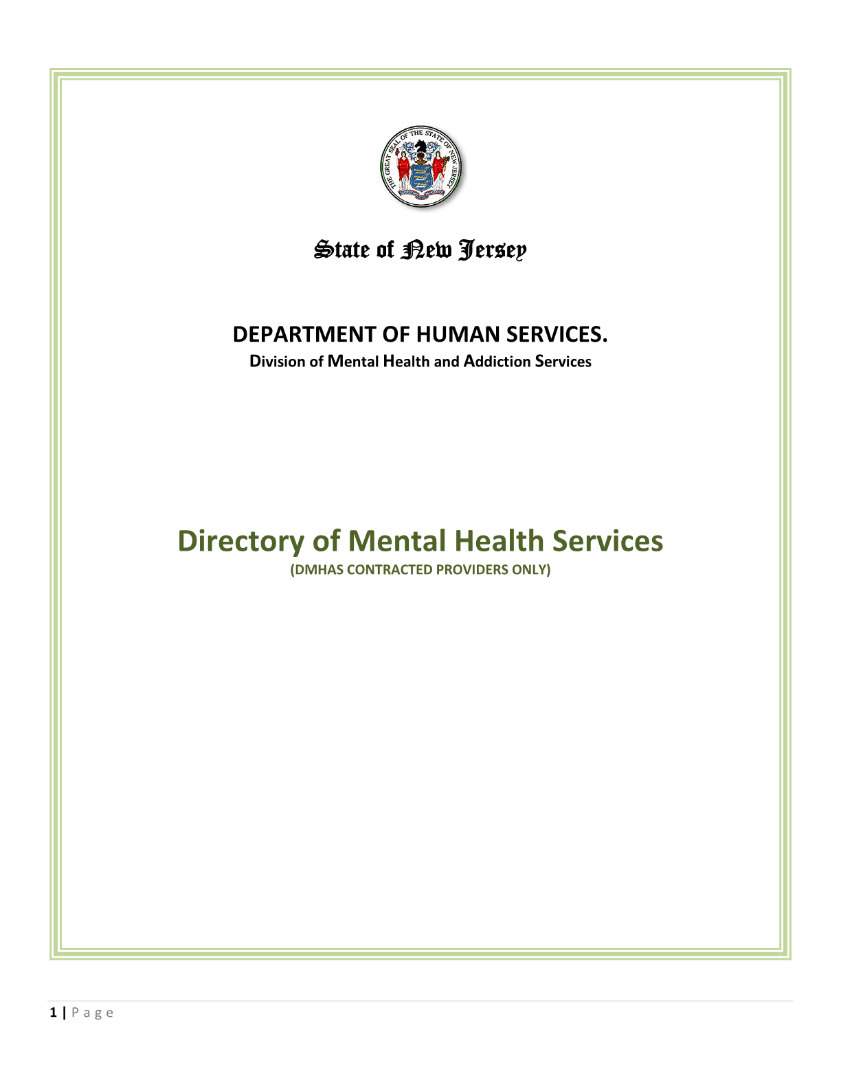 Department of Human Services - Division of Mental Health and Addiction Services (DMHAS): Directory of Mental Health Services