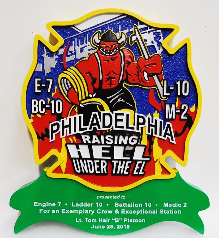 QP-3017 - Carved Seal of Logo ofEngine 7, Ladder 10 of the  Fire Department in Philadelphia, 2.5-D Artist-Painted