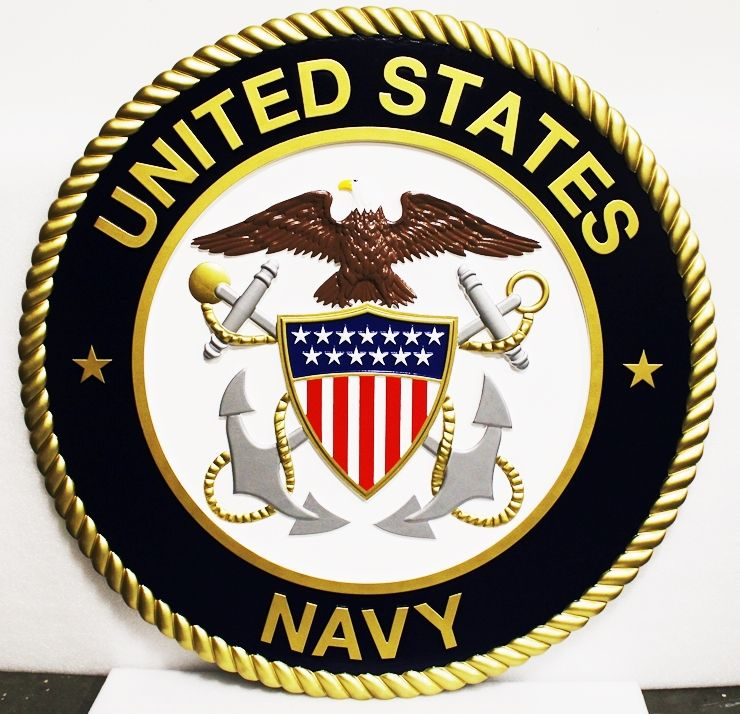 JP-1192- Large Carved Wall Plaque of the Emblem of the US Navy, 3-D Artist-Painted