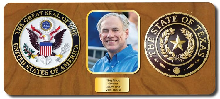 EA-1075 -  Mahogany Plaque for the Governor of Texas, Greg Abbott,  with Photo and US Great Seal and Great Seal of the State of Texas