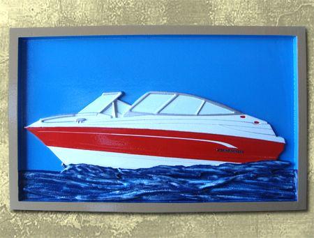 M22504 - Carved Handpainted Speedboat Plaque