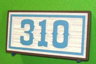 KA20885 - Carved HDU Street Number Sign, with Sandblasted  Wood Grain