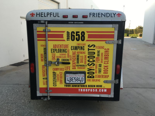 Trailer wraps for scout troops in Orange County CA