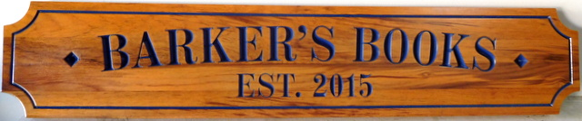 "SA28069 - Carved Engraved Cedar Sign for ""Barker's Books"" Store"