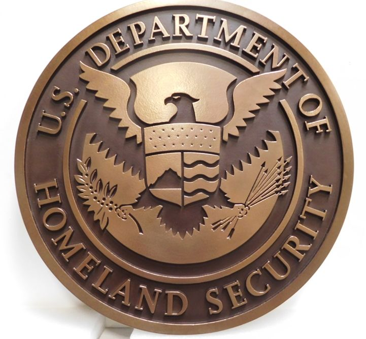 AP-4032- Carved Plaque of the Seal of the Department of Homeland Security, 2.5-D Bronze-Plated