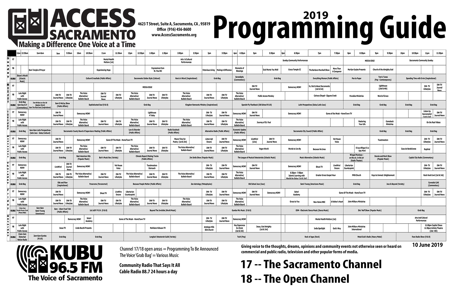 Program Schedule (B/W Print Version)