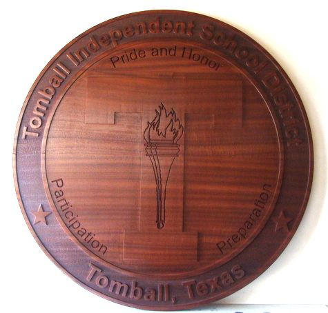 Y34770 - Carved 2.5-D  Redwood (Flat Relief)  Wall Plaque of the Seal of the Tomball School District, Texas