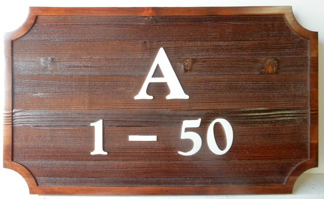 KA20914 - Carved Stained Cedar Wood Address Sign with Unit Number for Apartment or Condominium