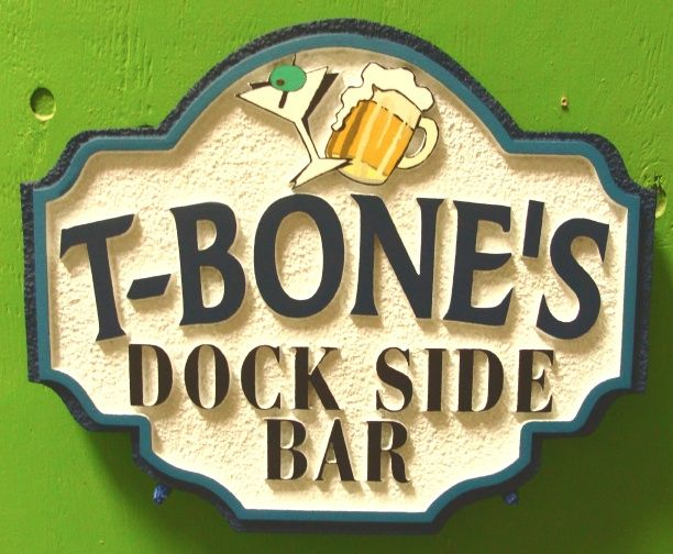 GB16823 - Carved HDU Sign for T-Bone's Dock Side Bar,  with Beer Mug and Martini  as  Artwork