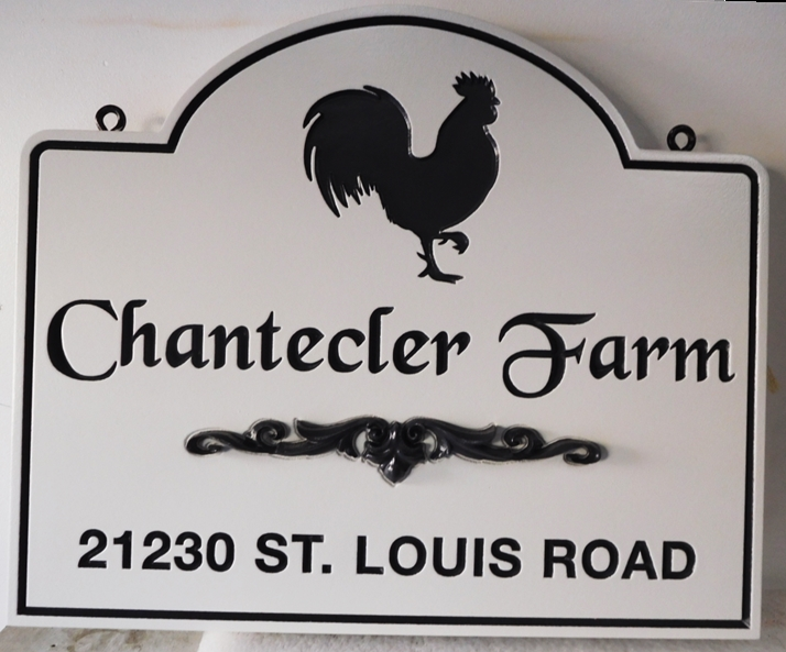 "O24460 - Engraved Entrance and Address Sign for ""Chantecler Farm"" with a Silhouette of  a Rooster as Artwork"