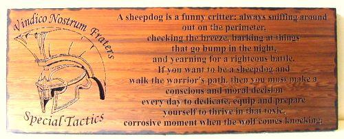 "V31817 - Engraved Cedar Plaque for Special Tactics Unit with Roman Helmet, ""Vindico Nostrum Fraters"", Sheepdog Saying"