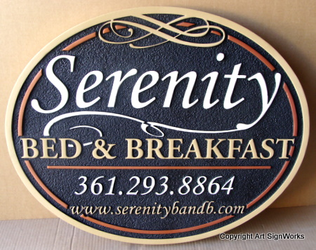"T29046 - Elliptical Carved High-Density-Urethane (HDU) Sign for""The Serenity Bed & Breakfast"""
