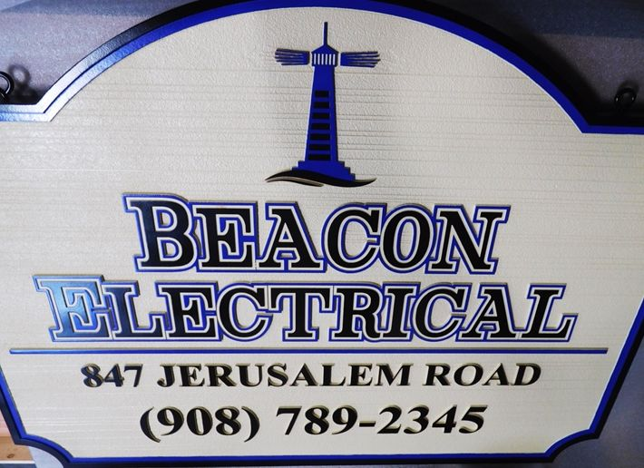 """S28114-  Carved and Sandblasted Wood Grain  HDU Commercial Sign  for the """"Beacon Electrical Company"""", 2.5-D Artist-Painted"""