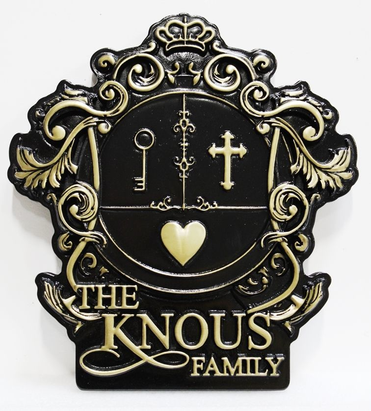 XP-1178 - Carved 3-D HDU wall Plaque of the Knous Family Coat-of-Arms witha Cross, a Heart and a Key