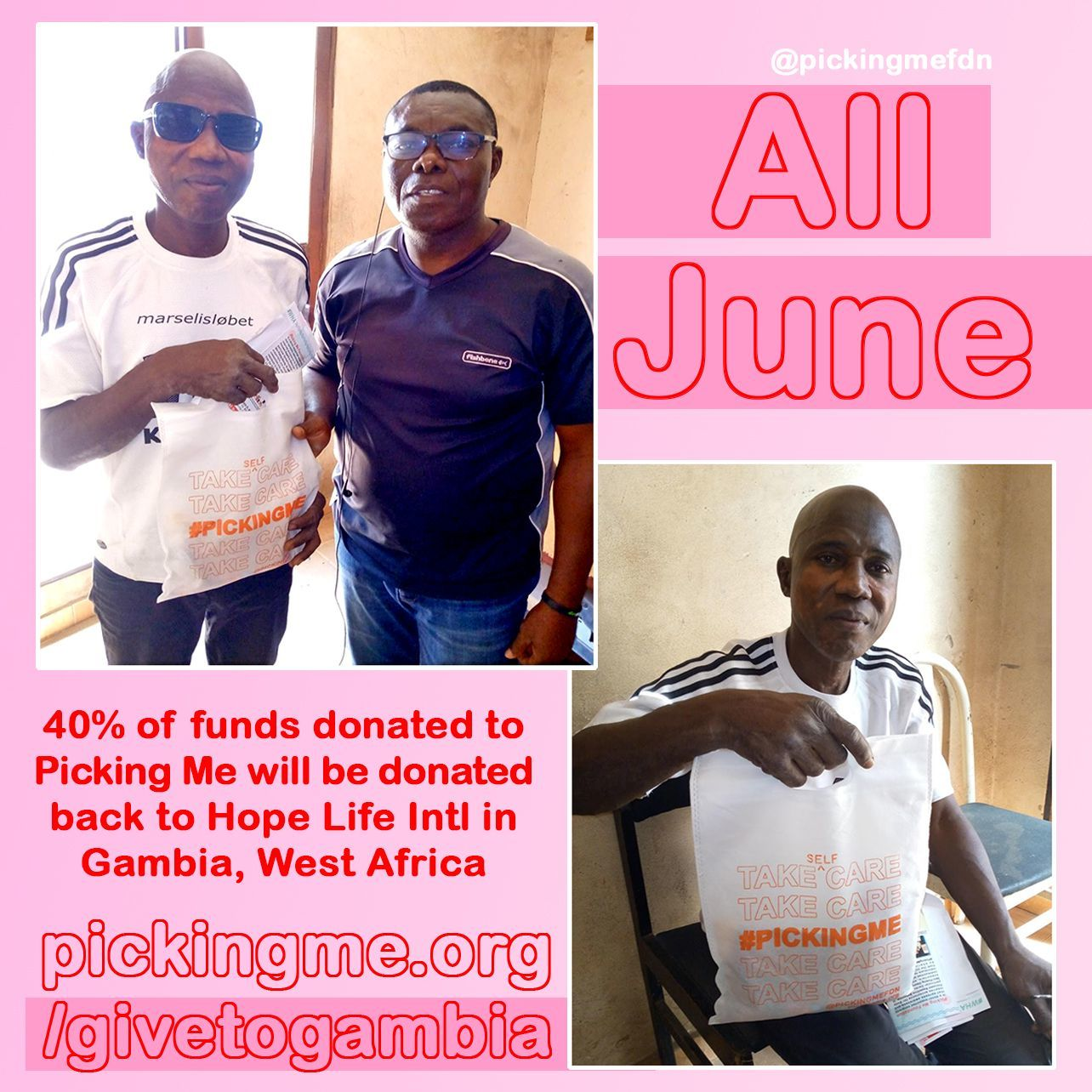 From now till Friday, June 18th 40% of funds raised will be donated back to Hope Life International in Gambia, West Africa!