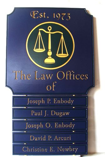 A10617 - Dark Blue & Gold Law Office Wall Directory Sign with Attorney Names
