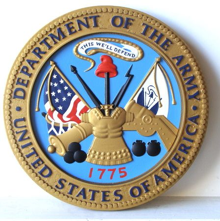 M2075 - Carved Wood Round Wall Plaque of US Army Great Seal (Gallery 31)