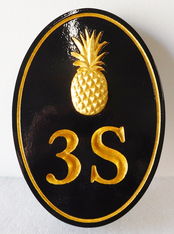 I18459 -  - Address Door Plaque, with Gold 3-D Carved Pineapple