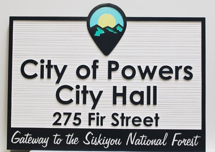 F15406 - Carved and Sandblasted Entrance Identity and Address Sign for the City of Powers,  City  Hall