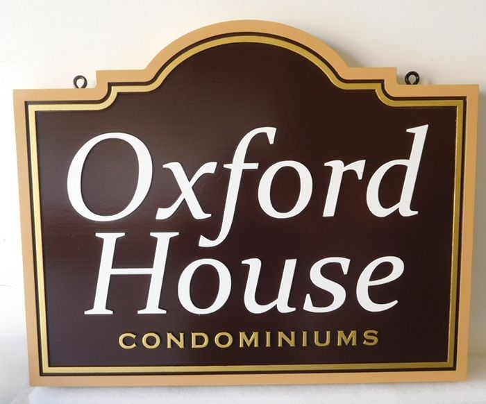 "K20333 - Carved HDU Entrance Sign for the ""Oxford House"" Condominiums"