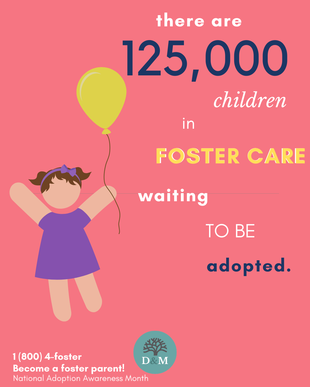 There are over 125,000 children in foster care waiting to be adopted