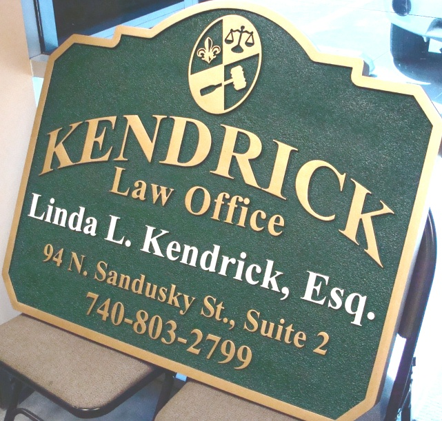 A10122 - Sandblasted Attorney Sign, Metallic Gold Trim