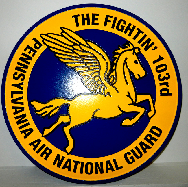 LP-2580 - Carved Round Plaque of the Crest of the Fightin' 103rd, Pennsylvania Air National Guard,   Artist Painted