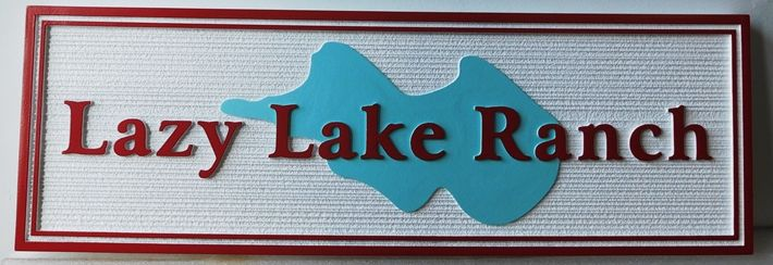 """Q24897 - Carved Address Sign for the """"Lazy Lake Ranch""""  with  the Shape of a Lake as Artwork"""