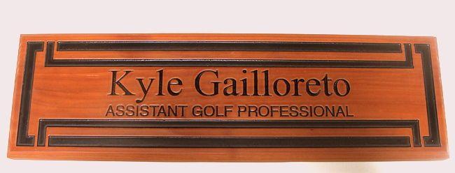 E14206 - Carved Cedar Golf Club Professional Name Sign