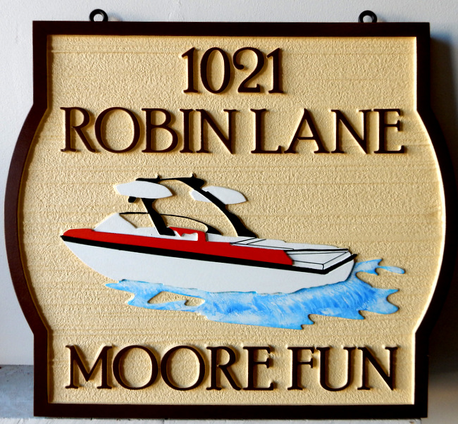 "M22506 - Waterfront Address Sign ""Moore Fun"" with Speedboat"