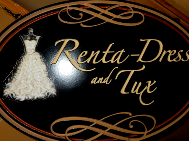 "SA28428 - Carved ""Renta Dress and Tux "" Store Sign . with Elegant Dress as Artwork"
