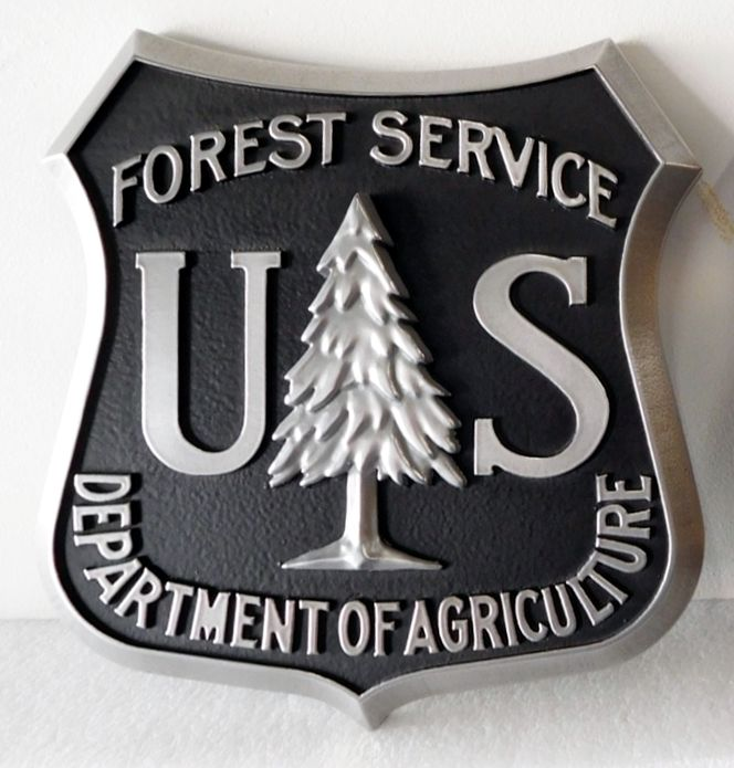 G16073 - Carved Wall Plaque of the Seal/Logo of the National Forest Service, 3-D, Aluminum-Plated, with Fir Tree