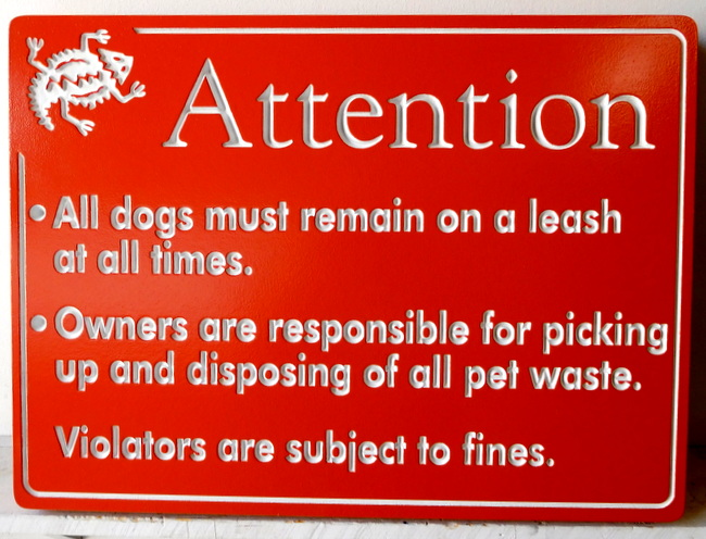 "KA20776 - Carved Engraved ""Dog Rules"" Sign for HOA"
