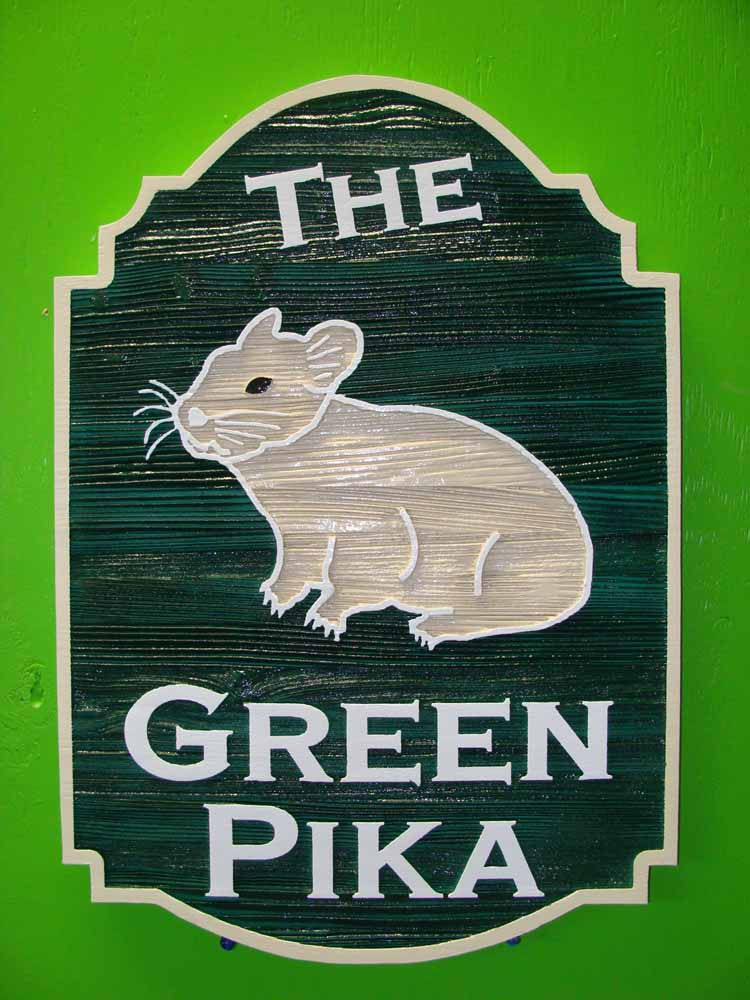 SA28350 - Carved and Sandblasted Wood Sign for Gift Shop with Carved Image of Pika