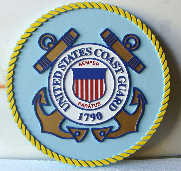 NP-1200- Carved Plaque  of the Great Seal of the US Coast Guard, 2.5-D Artist Painted